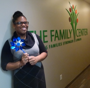 Florie sporting a pinwheel in honor of Child Abuse Prevention Month