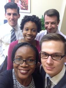 From left to right: David, Public Services Post Graduate Fellow (Cardozo 14'), Ifeoma, Social Justice Fellow (Columbia 14'), Adam Halper, Legal Services Director, Nkeonyeasua, Proficio Volunteer (Harvard 14') and Nicolas, Proficio Volunteer (NYU 16')